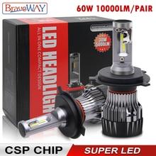 BraveWay CSP Chip żarówki do przednich reflektorów H4 H7 H8 H9 H11 lampy LED do samochodu 12V 9005 HB3 9006 HB4 9012 HIR2 H4 żarówki Led do motocykla