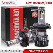 BraveWay CSP 칩 헤드 라이트 전구 H4 H7 H8 H9 H11 LED 램프 자동차 12V 9005 HB3 9006 HB4 9012 HIR2 H4 Led 전구 오토바이
