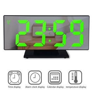 Image 2 - 디지털 알람 시계 LED 미러 시계 다기능 디지털 알람 시계 표시 시간 밤 테이블 데스크탑 Despertador