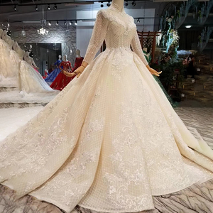Image 3 - LSS446 ארוך שרוולי חתונת שמלות גבוהה צוואר פתוח keyhole חזרה שמלות כלה תחרה אפליקציות לראות דרך 웨딩 파티 드레스