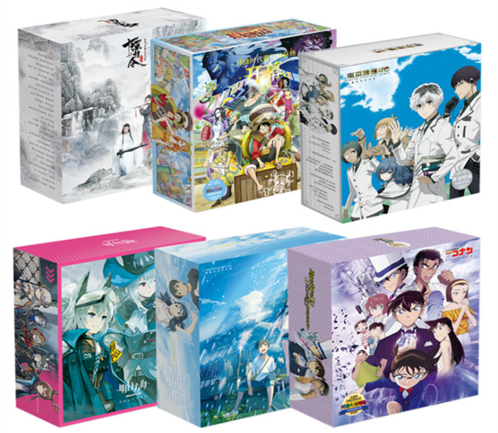 Anime Gift BOX toy One piece Naruto Conan Kimetsu no Yaiba SAO Included Poster Keychain Postcard bottle Bookmark Mirror gift