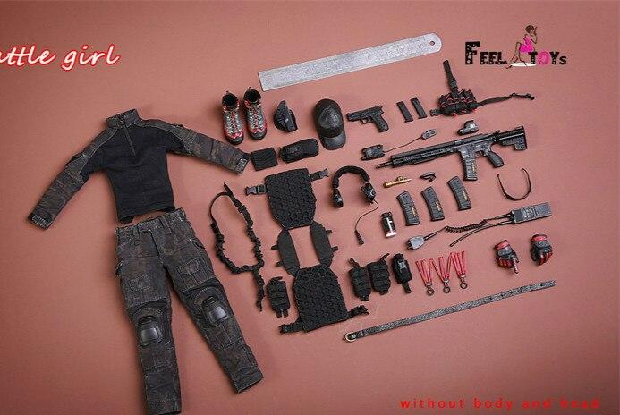 1/6 масштаб битва девушка 1,0 набор экшн фигурка с камуфляжным боевые костюмы тактические перчатки для стрельбы бейсбольная шляпа гетры колле... - 2