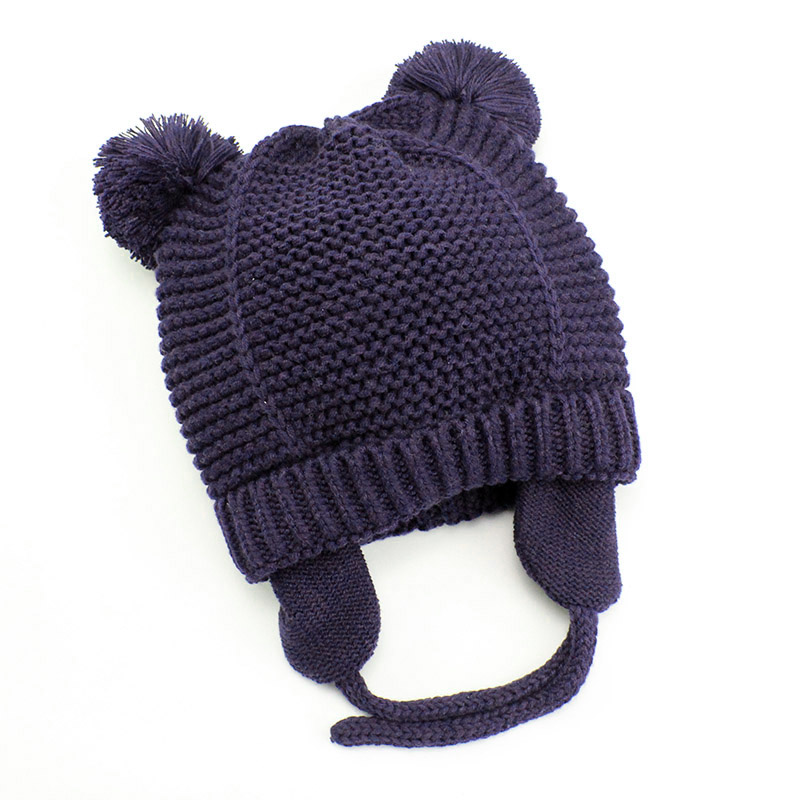 Cutex Knitted Pompom Baby Hat Cap Thick Warm Baby Girl Boy Hat Beanie Winter Ear Warm Kids Hat Baby Bonnet Muts For Newborn 09