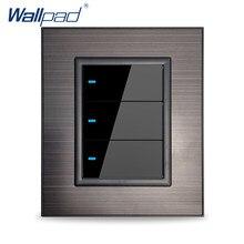 Wallpad 3 Gang 2 voies applique murale interrupteur avec témoin LED panneau en acier inoxydable noir plat acrylique bouton clic sur un côté