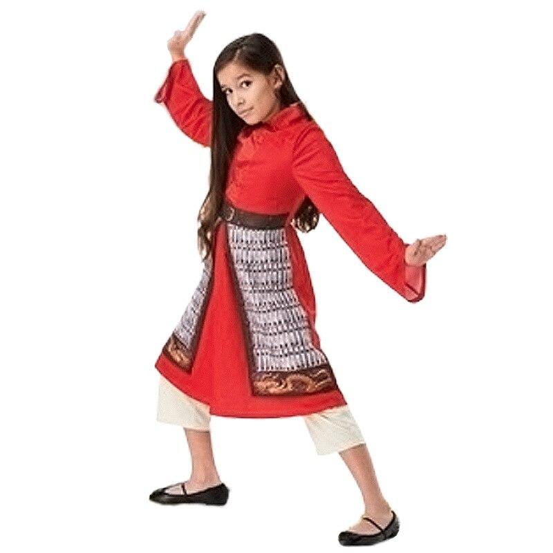 Girls Hu Mulan Princess Red Hero Dress Costume(China)
