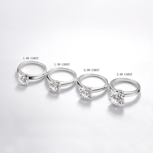 Image 4 - QYI כסף 925 טבעות נשים אירוסין כסף טבעות עגול מדומה יהלומי מאוד מבריק מתנה לחתונה טבעת אבן גודל 1/1.5/2/3 ct