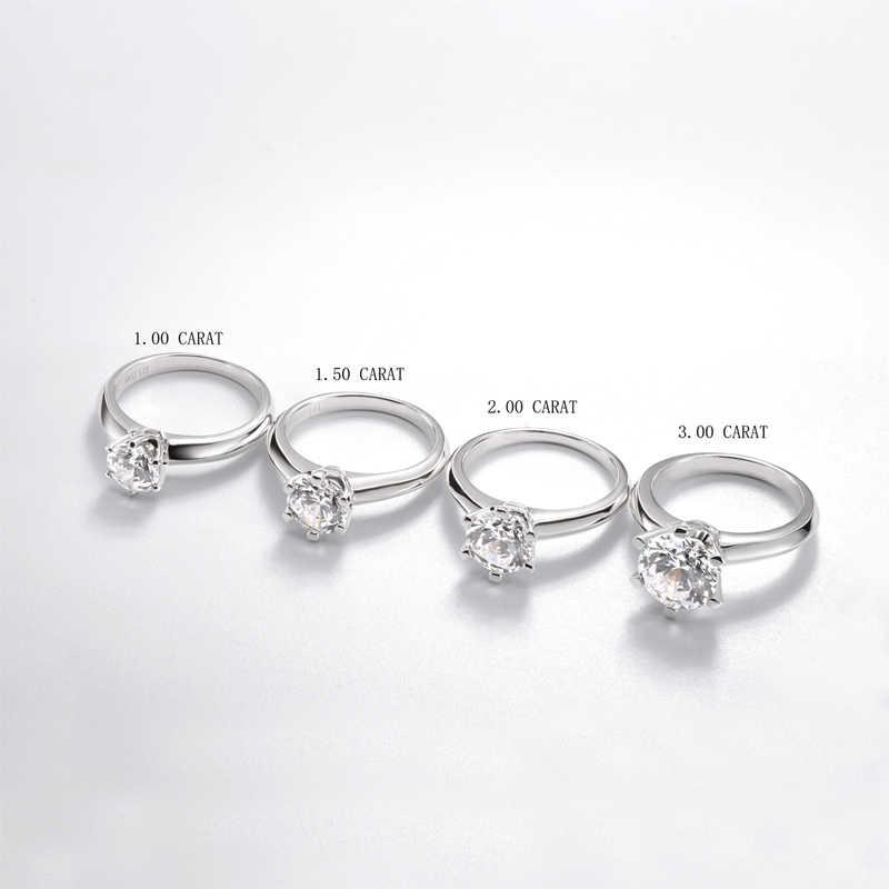 QYI Silber 925 Ringe Frauen Engagement Silber Ringe Runde Simuliert Diamant Sehr Shiny Hochzeit Geschenk ring Stein Größe 1/1.5/2/3 ct