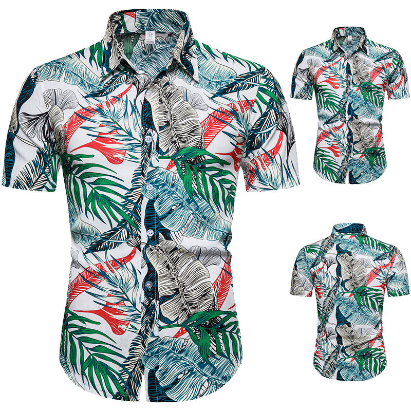 Summer Mens Leaf Print Shirts 2020 New Fashion Brand Tops Mens Hawaiian Shirts Short Sleeve Cotton Men Clothes Chemise Homme 3XL