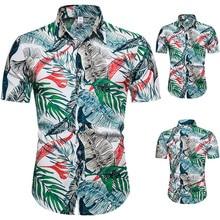 Men Shirts Chemise Short-Sleeve Leaf-Print Cotton Summer New-Fashion 3XL Tops Homme Brand