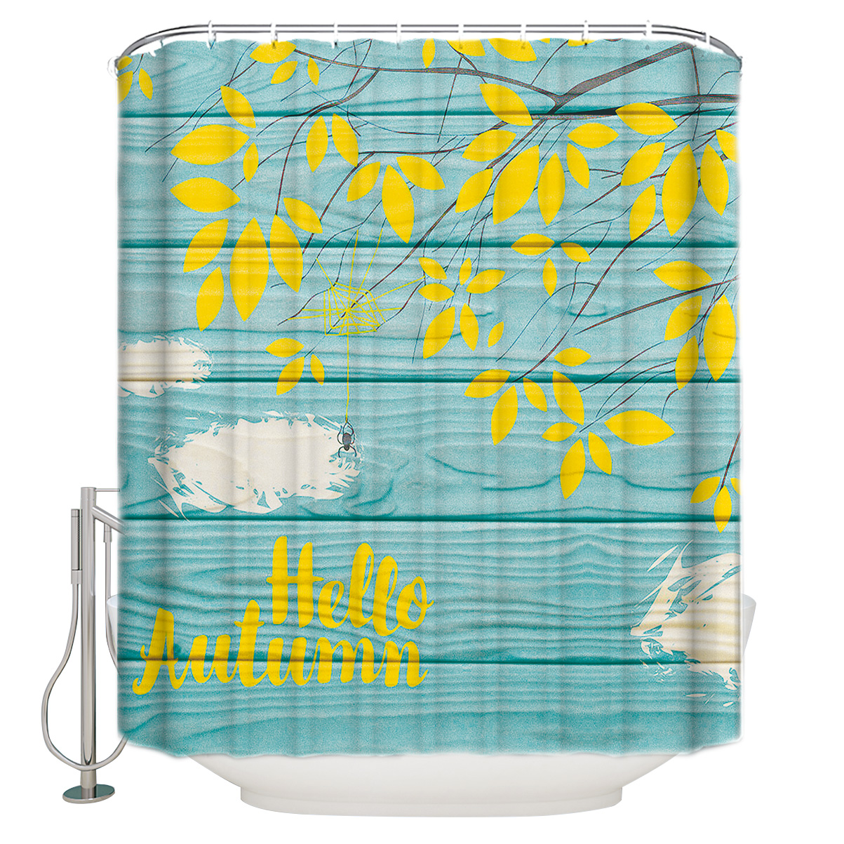 """Yellow Leaves And The Words """"Hello Autumn"""" Polyester Fabric Shower Curtain"""