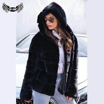 2020 Fashion Navy Blue Hooded Real Rex Rabbit Fur Jacket For Women Luxury Full Pelt Winter Warm Real Rabbit Fur Coat With Zipper winter girl children real rex rabbit fur coat kids warm fur jacket thick overcoat