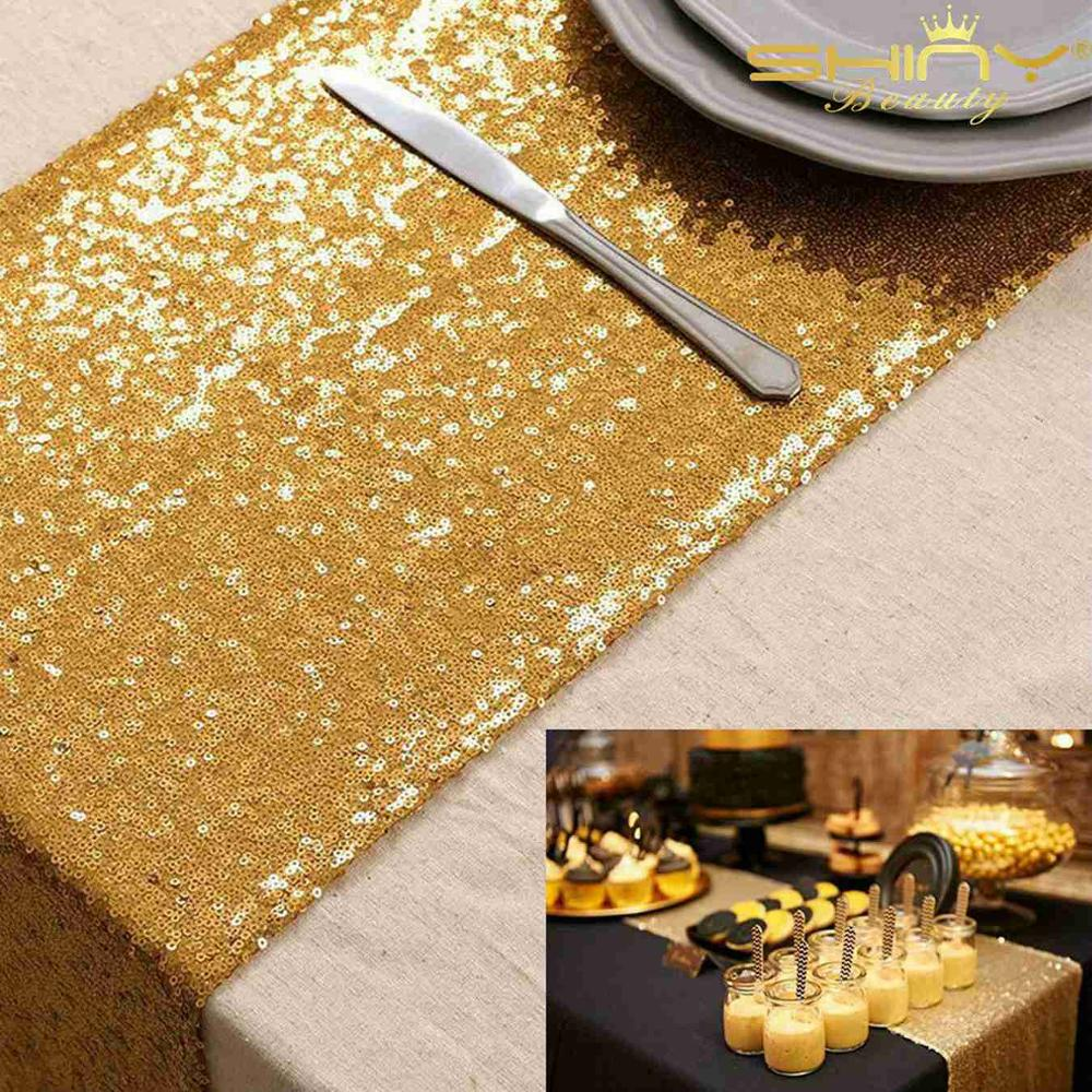 Table Runner Gold 12x156 Inch Thanksgiving Sequin Table Runners Home Decoration For Table-M1015
