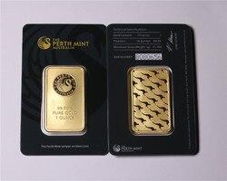 Não magnético a hortelã de perth 1oz 2.5g 5g 10g 20g a b c série troy 99.99% puro ouro chapeado réplica alto relevo token apmex