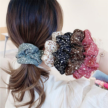 Summer Chiffon Floral Scrunchie Women Girls Elastic Hair Rubber Bands Accessories Tie Hair Ring Rope Ponytail Holder Headdress