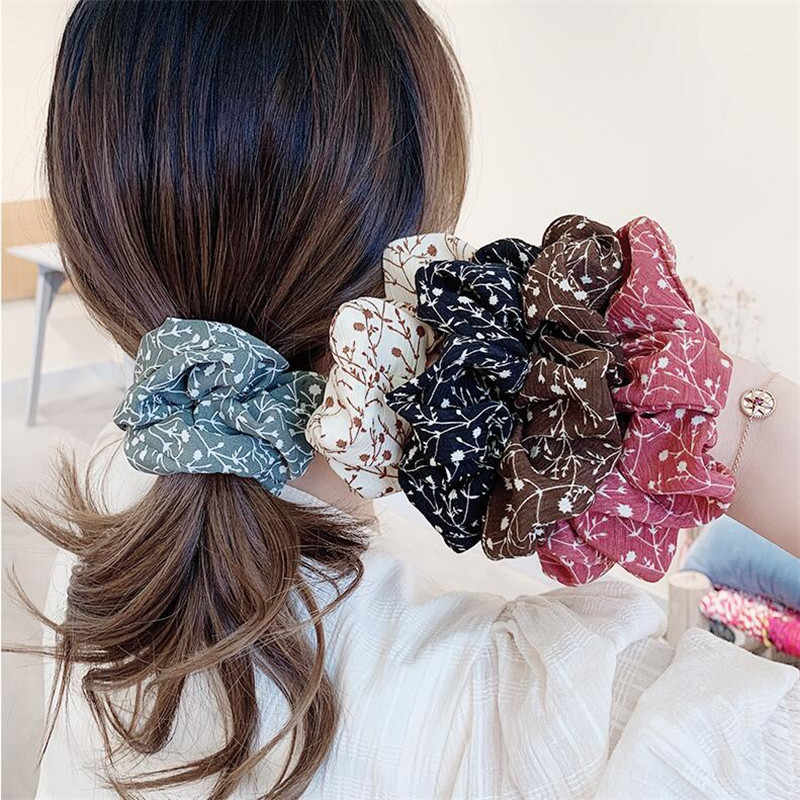 Floral Women Bow Hair Ring Elastic Hair Rubber Band Ponytail Hair Accessories
