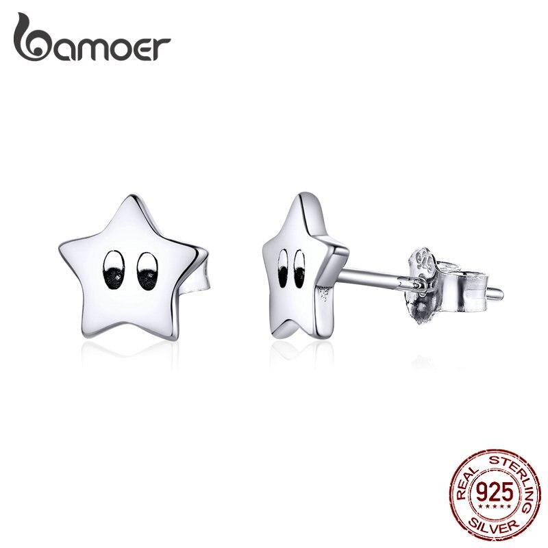 Bamoer 925 Sterling Silver Twinkle Little Star Stud Earrings For Women Female Hypoallergenic Stud  Jewelry For Girl Gifts SCE796