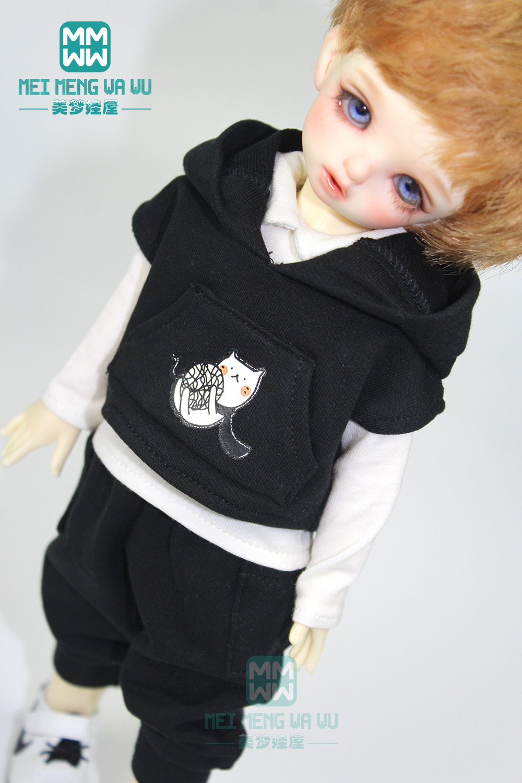 BJD Accessories Doll Clothes Fashion Black Hooded Sports Suit, Shirt For 28cm--30cm 1/6 BJD YOSD Doll