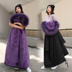 Image 4 - PinkyIsBlack Parkas largas para nieve de 30 grados para mujer, chaqueta de invierno, ropa con capucha de piel, abrigo de invierno grueso con forro de piel para mujer