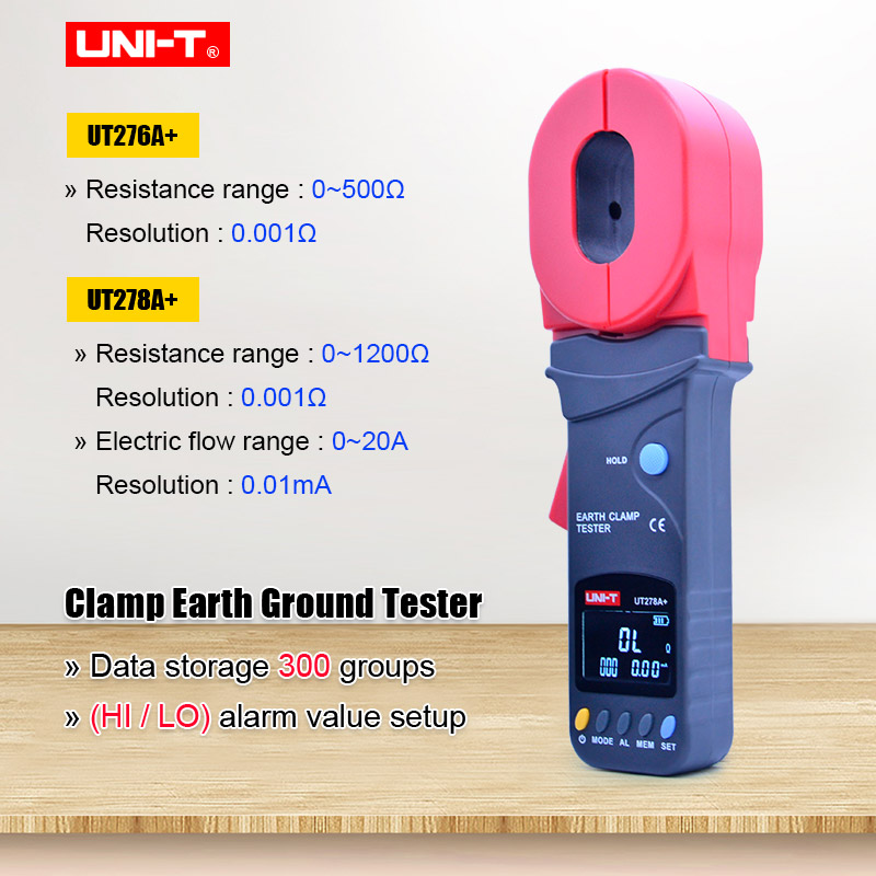 Aletler'ten Pens Ampermetreler'de Kelepçe toprak test cihazı UNI T UT276A + UT278A + kelepçe topraklama test cihazı toprak direnç test aleti veri depolama HI/LO alarm sınırları title=