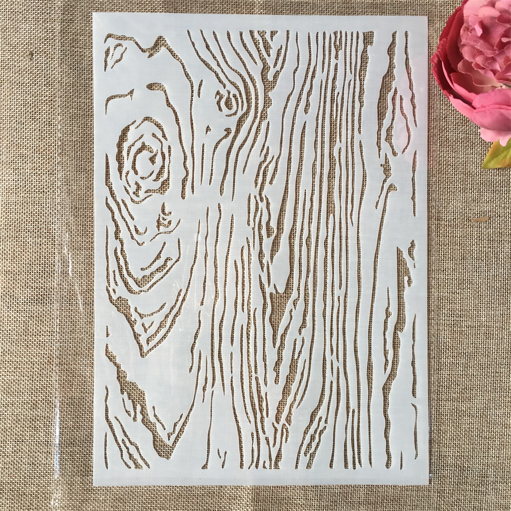 29cm A4 Wooden Texture DIY Layering Stencils Wall Painting Scrapbook Coloring Embossing Album Decorative Paper Card Template