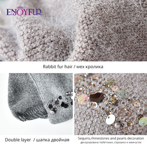 Image 5 - ENJOYFUR Winter knitted double layer hats for women fashion sequins and rhinestones  beanies female thick warm 2019 new caps