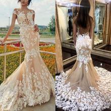 Женское свадебное платье с юбкой годе кружевное цвета шампанского