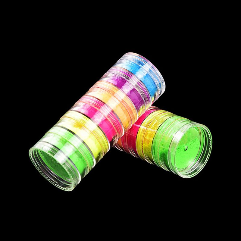 6Pcs Fluorescent UV Pigment Powder UV Reactive Luminous Pigment Kit Art Craft