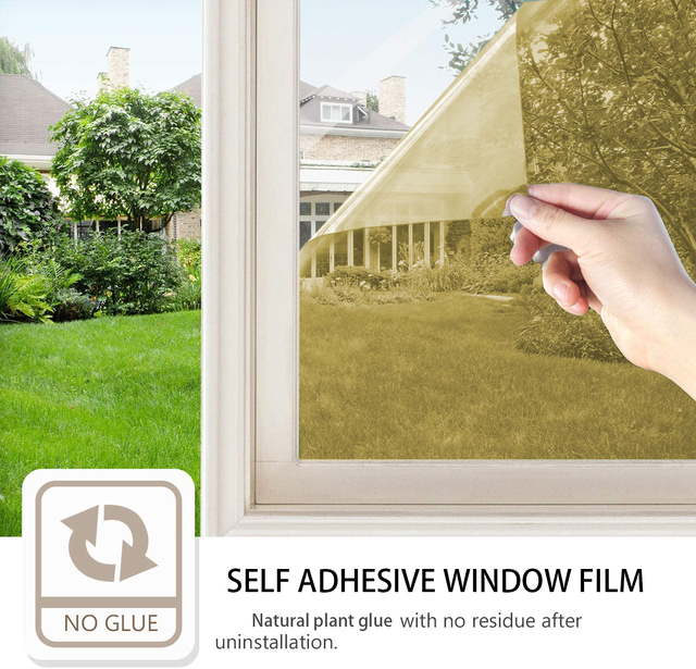 One Way Window Film Privacy Anti-UV Window Sticker Heat Control Reflective Glass Tint for Home Self Adhesive Vinyl Film (Gold) 2