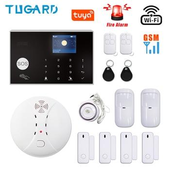 цена на Tuya Smart WiFi GSM 3G 4G Home Alarm Security System Wireless 433MHz Burglar Alarm System Kit with Wireless Fire Smoke Detector