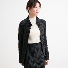 Fold Cardigan Women's coat Spring and autumn Take out 2019 New pattern Temperament Black Diamond fold Long sleeves Women's wear стоимость