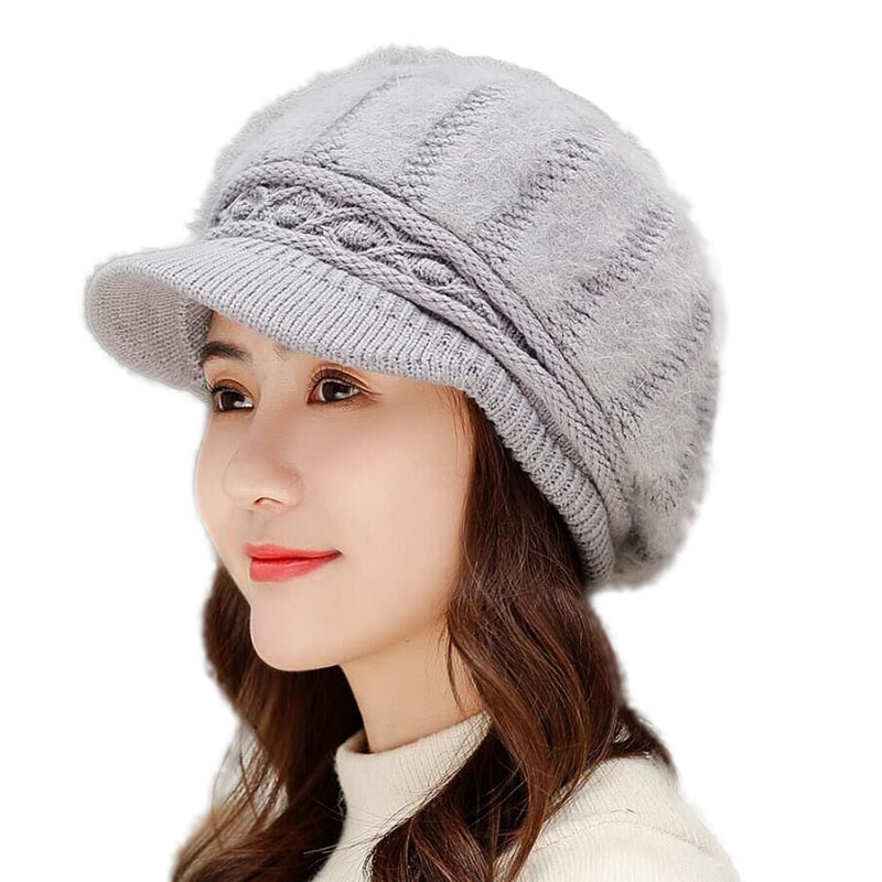 Winter Keep Warm Rabbit Fur Beret Thick Knit Female Berets Cold Women Thermal Cap Windproof Autumn Caps