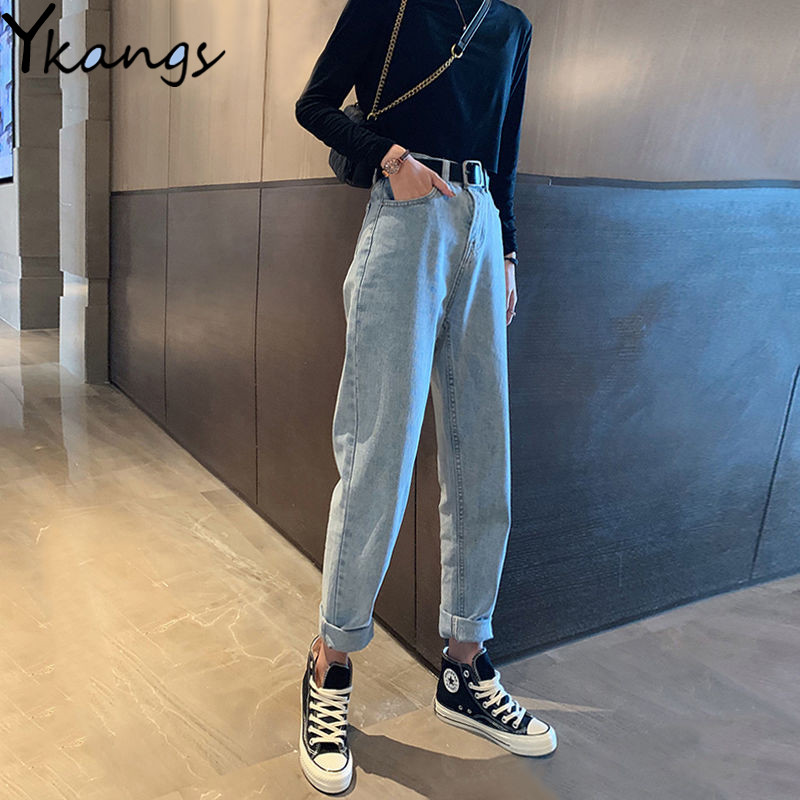 Mom Jeans Vintage High Waist Boyfriend Jeans For Women Black Denim Pants Push Up Ladies Trousers Spring Straight Jeans Clothes