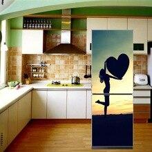 fridge sticker cover Home Decoration Fridge Decor Refurbished Sticker PVC Self Adhesive Cover Refrigerator Paris