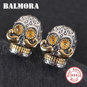 Image 2 - BALMORA 100% Real 925 Sterling Silver Skull & Long Beard Stud Earrings for Men argent homme Gift Being Old Style Fashion Jewelry