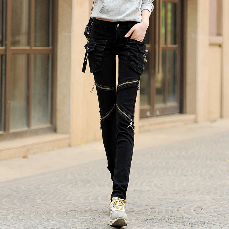 Spring Pocket Zipper Jeans New Female Models Slim Feet Pants Trousers Loose Harem Pants Streetwear Ripped Jeans for Women 2020