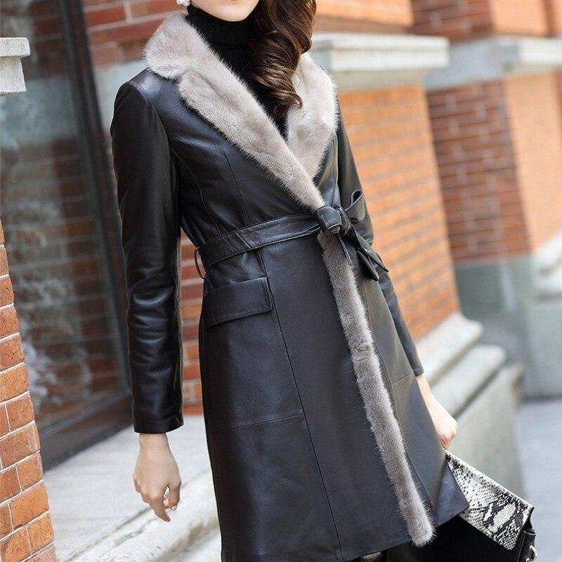 Leather Brand Leather Robe Women's Elegant Sticky Fur Collar Sheepskin Wall Autumn Fashion Belt Leisure Pocket