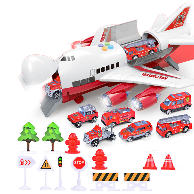 Music Story Simulation Track Inertia Children's Toy Aircraft Storage Passenger Plane Police Fire Rescue Baby Boy Toy Car