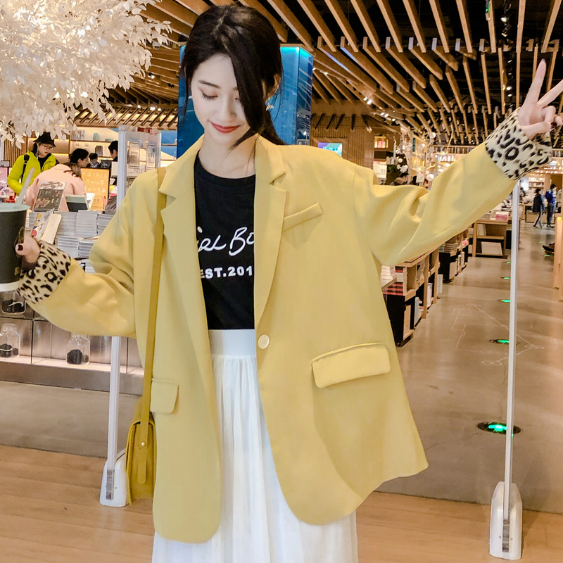 Korean Simple Women Blazer Loose Casual Solid Yellow Suit Jacket Stylish Long Sleeve Retro Women Party Jacket Large Size MM60NXZ
