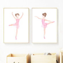 Pink Ballet Dancing Girl Figure Painting Wall Art Canvas Painting Nordic Posters And Prints Wall Pictures Kids Room Home Decor beautiful peacock feather minimalist nordic posters and prints wall art canvas painting wall pictures baby kids room home decor