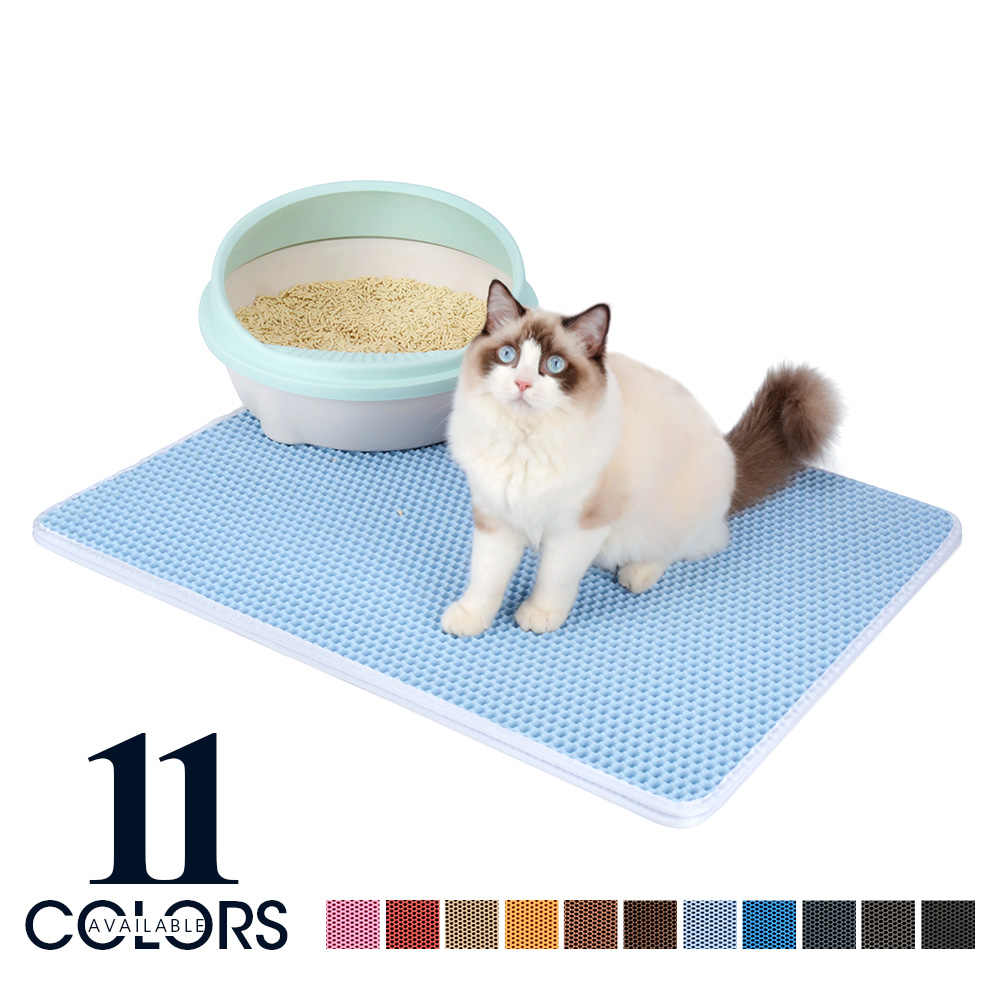 다채로운 애완 동물 고양이 쓰레기 매트 더블 레이어 EVA 비 슬립 패드 모래 고양이 화장실 가죽 방수 클린 패드 고양이 클린 액세서리