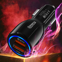 Автомобильное USB зарядное устройство GTWIN, быстрая зарядка 3,0 2,0, зарядное устройство для мобильного телефона, 2 порта, USB, быстрое зарядное устройство для iPhone 7 8 X XS, для samsung S9, автомобильное зарядное устройство