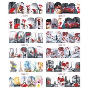 Image 4 - 12 Water Nail Art Transferสติกเกอร์SlidersสีแดงMapleโรแมนติกวาเลนไทน์การออกแบบรูปลอกตกแต่งJIBN373 384