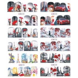 Image 4 - 12 projetos de água arte do prego transferência adesivo sliders bordo vermelho romântico desenhos dos namorados decalque manicure decorações JIBN373 384