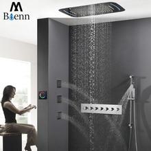 цена на Luxury Rainfall Ceiling Shower Head LED Shower Set Faucets Tap Shower Thermostatic Mixer Valve Big Waterfall Showers Slide Bar