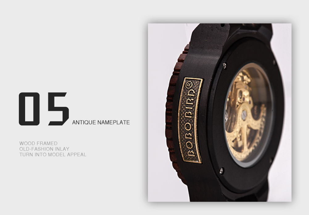 Wooden Mechanical Watch W-R05 - Custom Engraving / Logo Available