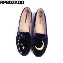 الانزلاق على السيدات حجم كبير Kawaii النساء 10 الصينية المطرزة الأحذية 41 التطريز 33 الصين الأزرق الداكن الشقق المتسكعون 2019 المخملية