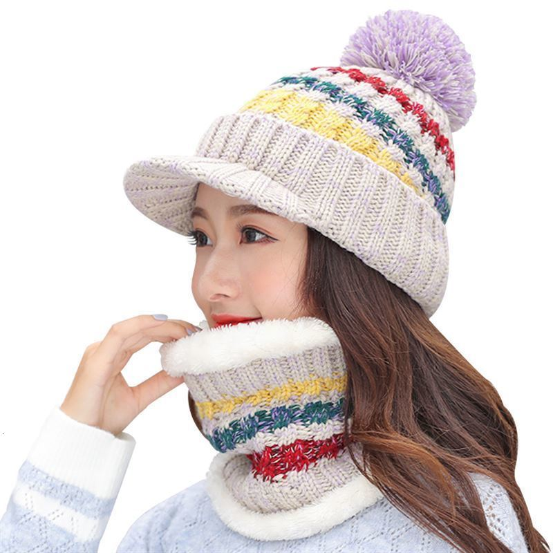 2018-Winter-Women-Knitted-Hat-Scarf-2Pcs-Set-Fashion-Wool-Thickening-Hat-Collars-Female-Warm-Hat