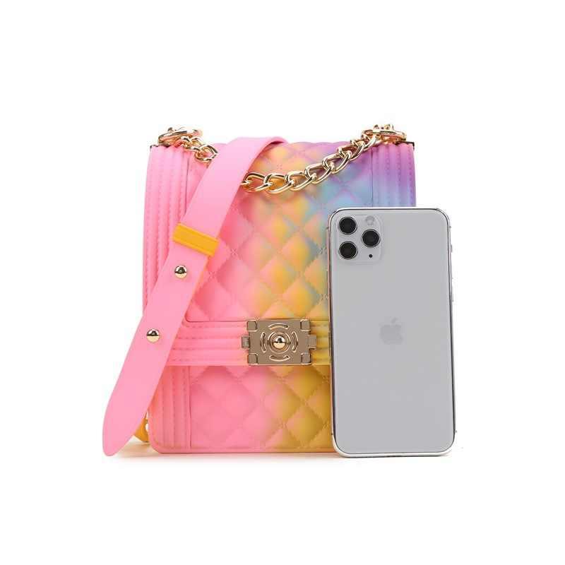 PVC Sommer Zipfel Mini Umhängetaschen für Frauen 2020 Regenbogen Farbe frauen Handtaschen und Geldbörsen Graffiti Messenger Telefon taschen