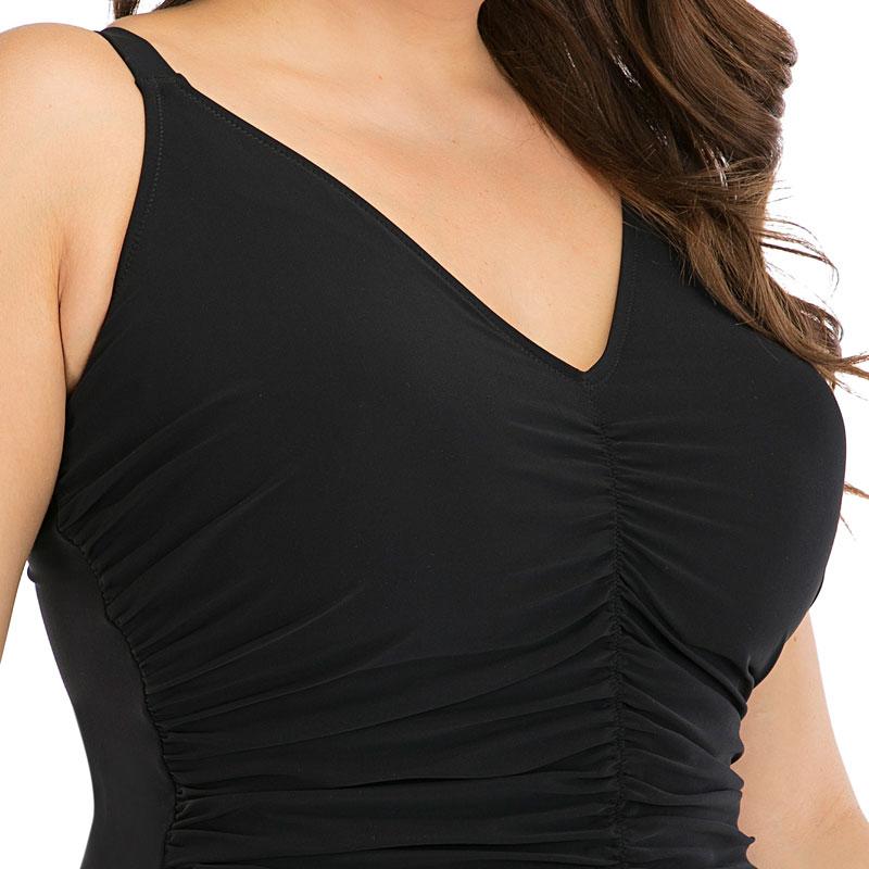 2020 New Solid Black Pleated Large Size 6XL One Piece Swimsuit Women Sexy Backless Plus Big XXL Swimwear Slim Beach Bathing Suit 3