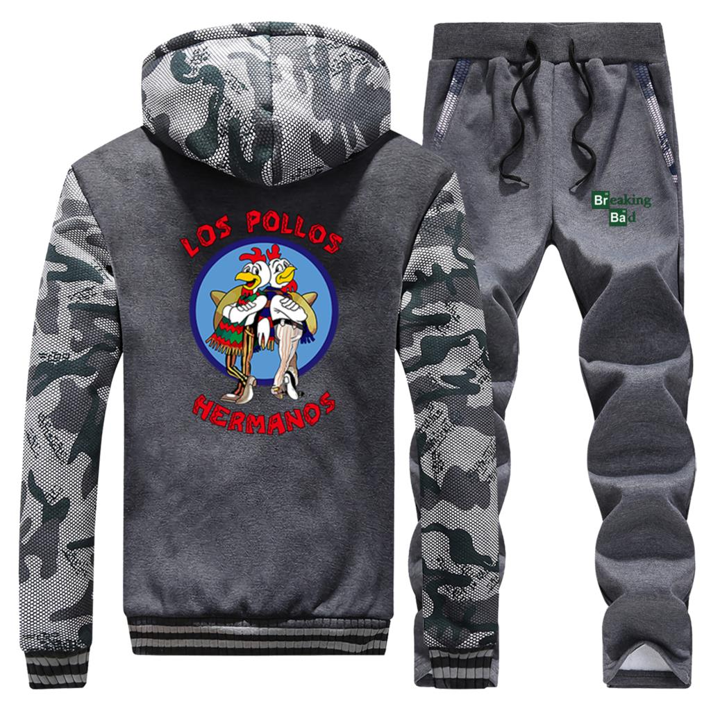 Breaking Bad Los Pollos Hermanos Hoodies Men Fleece Coat Thick Warm Jacket+Pants 2PC Sets Man Camouflage Set Sports Suit Outwear